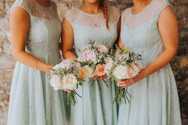 Gorgeous colours! Photo by Benjamin Stuart Photography #weddingphotography #bridesmaids #weddingday #weddingflowers #handtiedbouquet #bouquet #mintgreen #weddingideas
