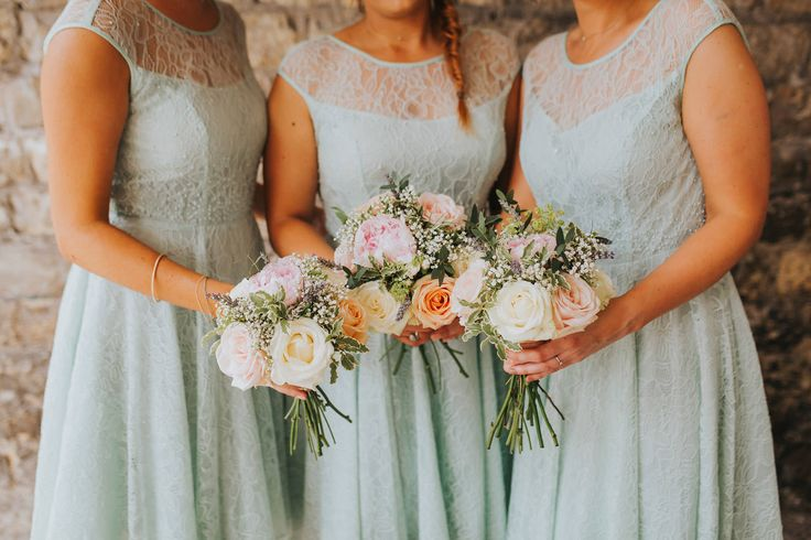 Gorgeous colours! Photo by Benjamin Stuart Photography #weddingphotography #bridesmaids #weddingday #weddingflowers #handtiedbouquet #bouquet #mintgreen #weddingideas