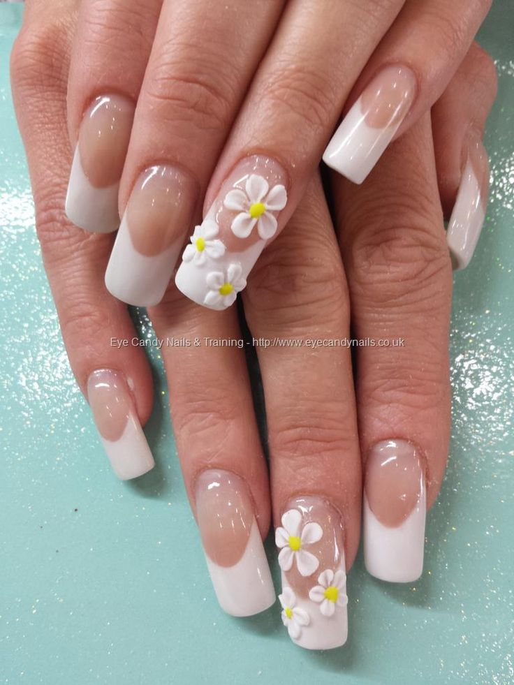 White Acrylic Tips With Flower Nail Art