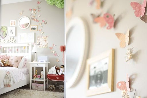 Butterfly Bedroom Decorating Ideas: Butterflies On The Wall In Girls Room