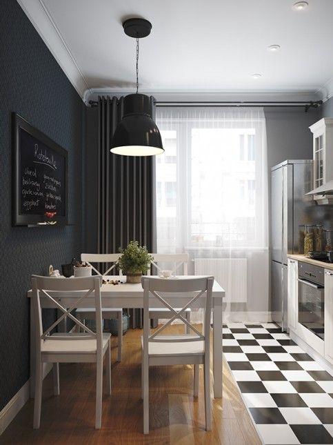 czarna ściana w kuchni,biały stół z krzesłami w skandynawskiej kuchni z podłogą w szachownicę,skandynawska kuchnia, czarno-białe płytki w kuchni,czarno-biała szachownica na podłodze w kuchni,szachownica na podłodze  we wnętrzach,podłoga w szachownicę