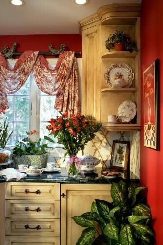 French country... Love the finish on these cabinets...