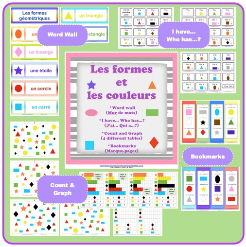 $ Have students saying the shapes and the colors in French by:  - building a word wall of geometric shapes (8 cards)  - playing the game I have...Who has...? - J'ai ... Qui a...? You're going to get 24 cards and instructions on how to play the game.  - by counting the shapes scattered in a page and graphing the results. There are 4 different pages.    As a bonus, you're also going to get bookmarks with examples of shapes and colors. Give them to your students at the end of the class.
