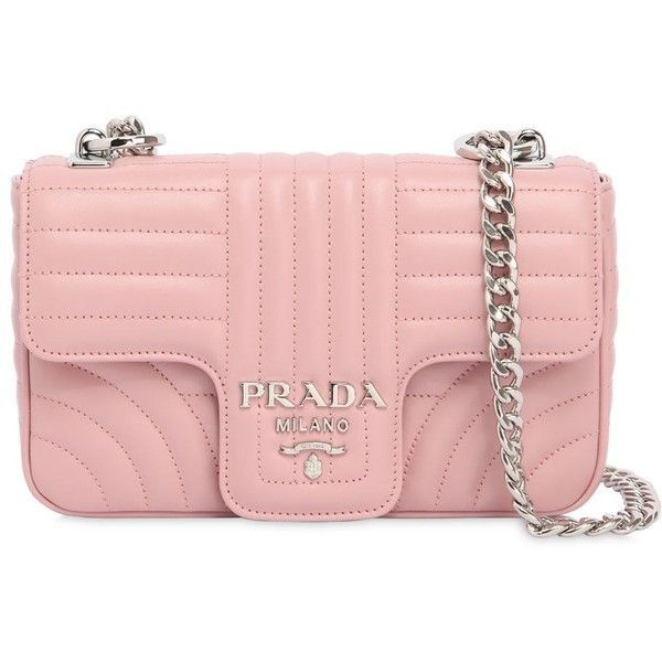 Prada Women Small Quilted Soft Leather Flap Bag ($1,830) ❤ liked on Polyvore featuring bags, handbags, shoulder bags, light pink, leather shoulder bag, quilted shoulder bags, light pink purse, leather handbags and leather purse