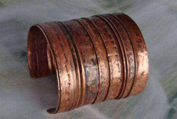 Wide cuff bracelet copper hammered fold formed by HummingBirdEggs