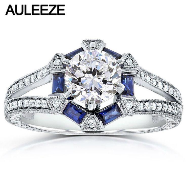 1 Carat Moissanites Engagement Ring Baguette-Cut Blue Sapphire 14K White Gold Rings For Women Lab Grown Diamond Wedding Bands