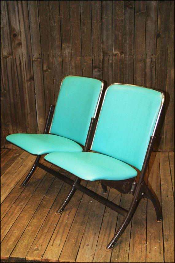 Vtg Folding Theater Seat HEYWOOD WAKEFIELD Vinyl Turquoise