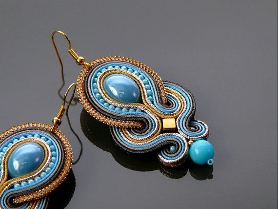 Blue  gray  graphite Soutache earrings with Jadeite. by ANBijou