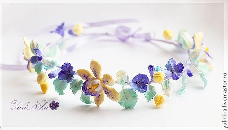 Купить Венок с орхидеями. Украшение для волос. - сиреневый, лиловый, бирюзовый, желтый, орхидея, розы, гортензия