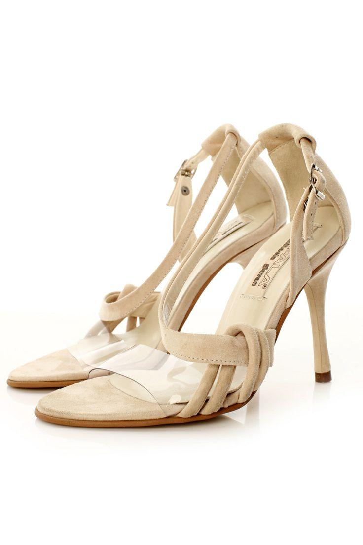 Sandale cu toc din velur nude