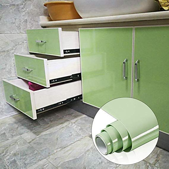 Yenhome High Glossy Green Removable Waterproof Vinyl Contact