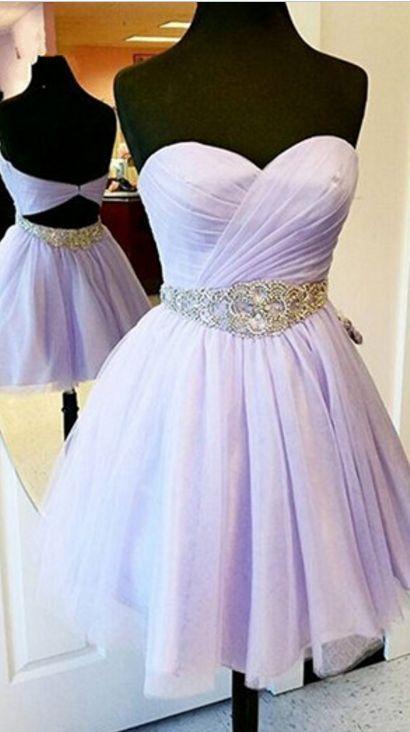 Charming Short Prom Dresses,Lavender Prom Dresses,Chiffon Prom Dresses,Strapless