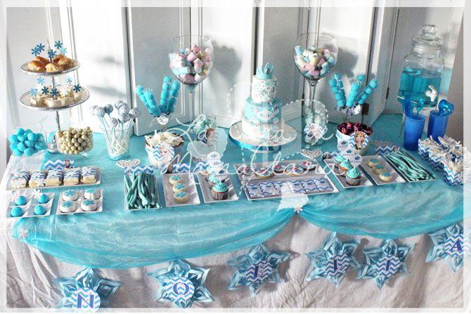 Decoración de la mesa dulce de Frozen