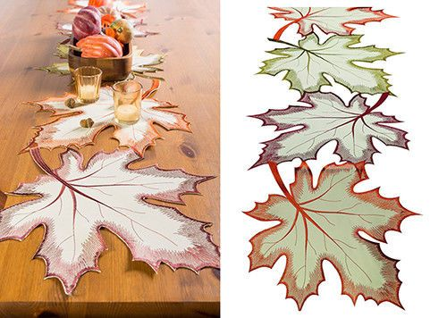 Table Runner With Embroidered Leaves Thanksgiving Autumn Decoration Home Dinner  #DII #EmbroideredLeaves #HalloweenAutumnHolidaysFestive