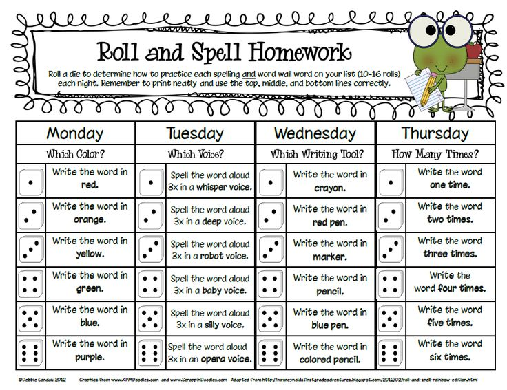 First Grade Spelling Homework | You can grab my new FREEBIE Roll and Spell Homework forms HERE .