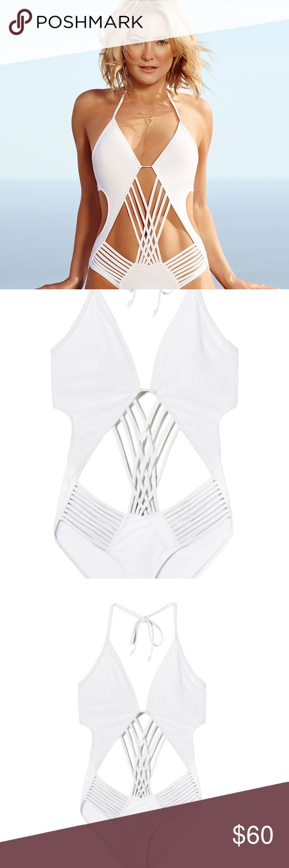 Fabletics White One Piece Bathing Suit Sexy brand new suit with tags! Too small for me unfortunately so have to sell and get next size up. Fabletics Swim One Pieces