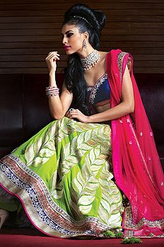 Green, pink and blue lengha - Benzer World 2014 collection, bridal lehenga