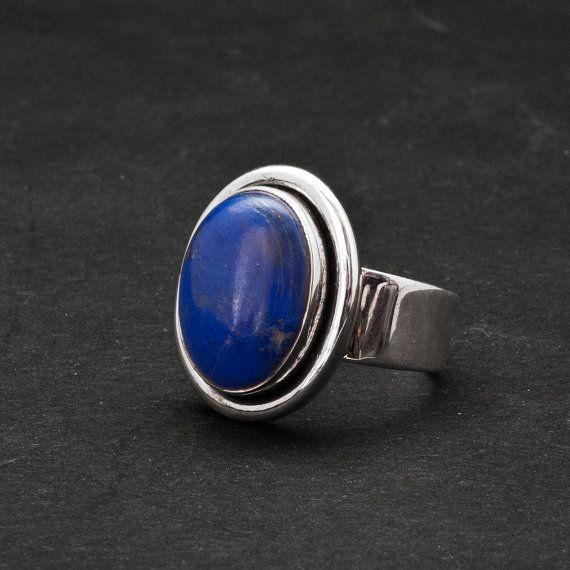 Lapis Lazuli Ring Blue Gemstone Sterling Silver by SunSanJewelry