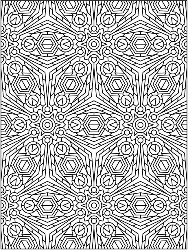 Free sample coloring page from creative haven tessellation patterns coloring book