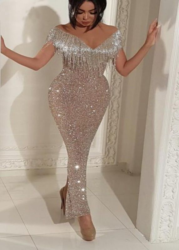Long Mermaid Champagne Prom Dresses 253229cf5e28