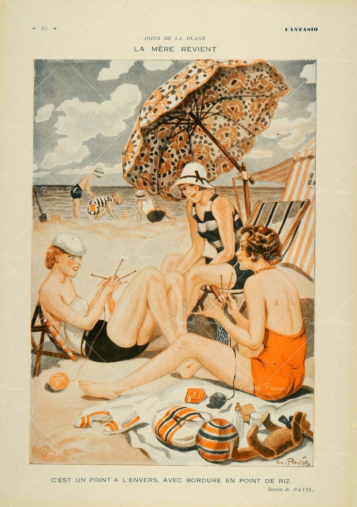 knitters at the beach - artwork