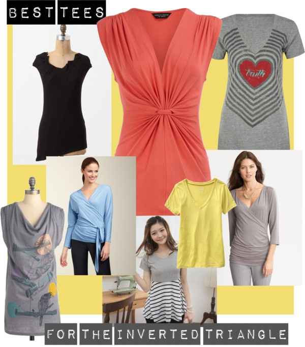 """Best T-shirts for the Inverted Triangle Shape"" by closetcoach on Polyvore"