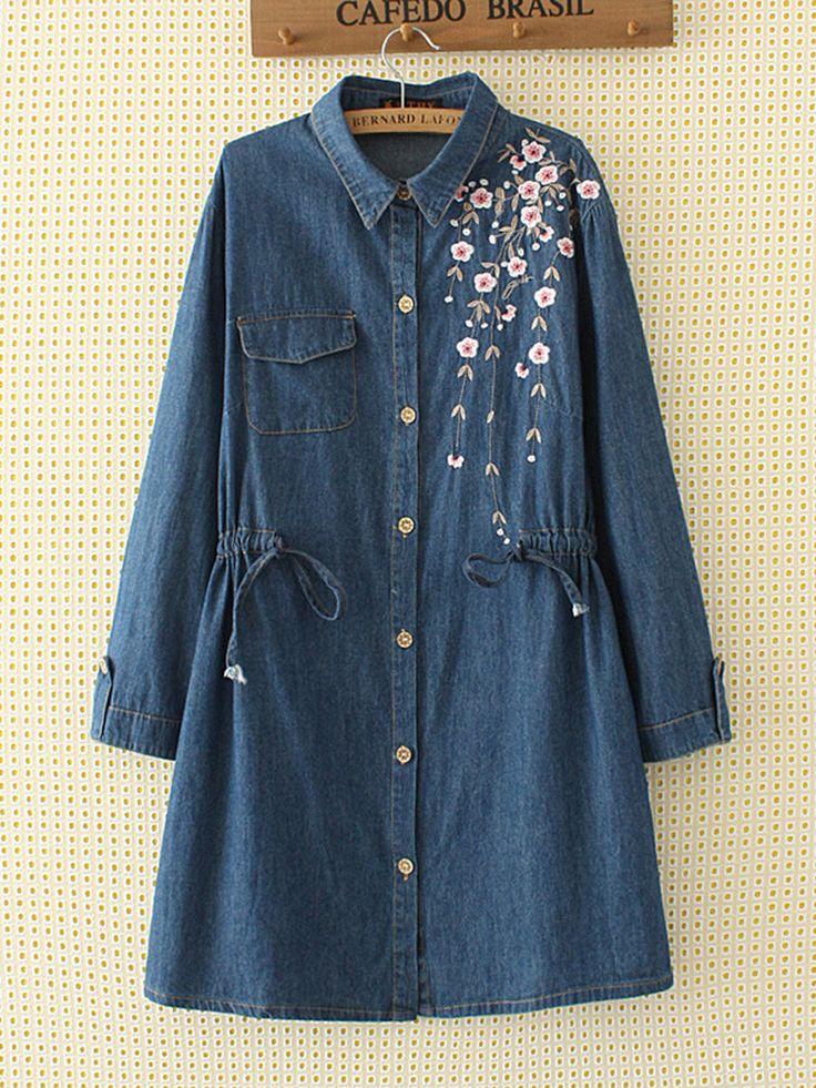 Casual Embroidery Lapel Elastic Waist Drawstring Denim Shirt Dress - NewChic