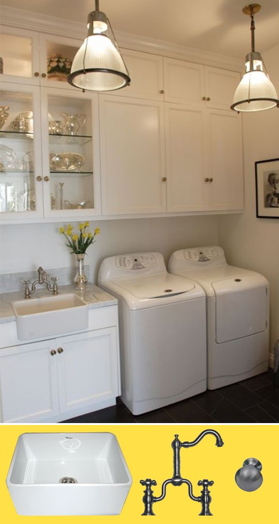 A Fireclay Sink is the Perfect Detail for Your Laundry Room.  MoodBoard Monday #27: Lovely Laundry Rooms