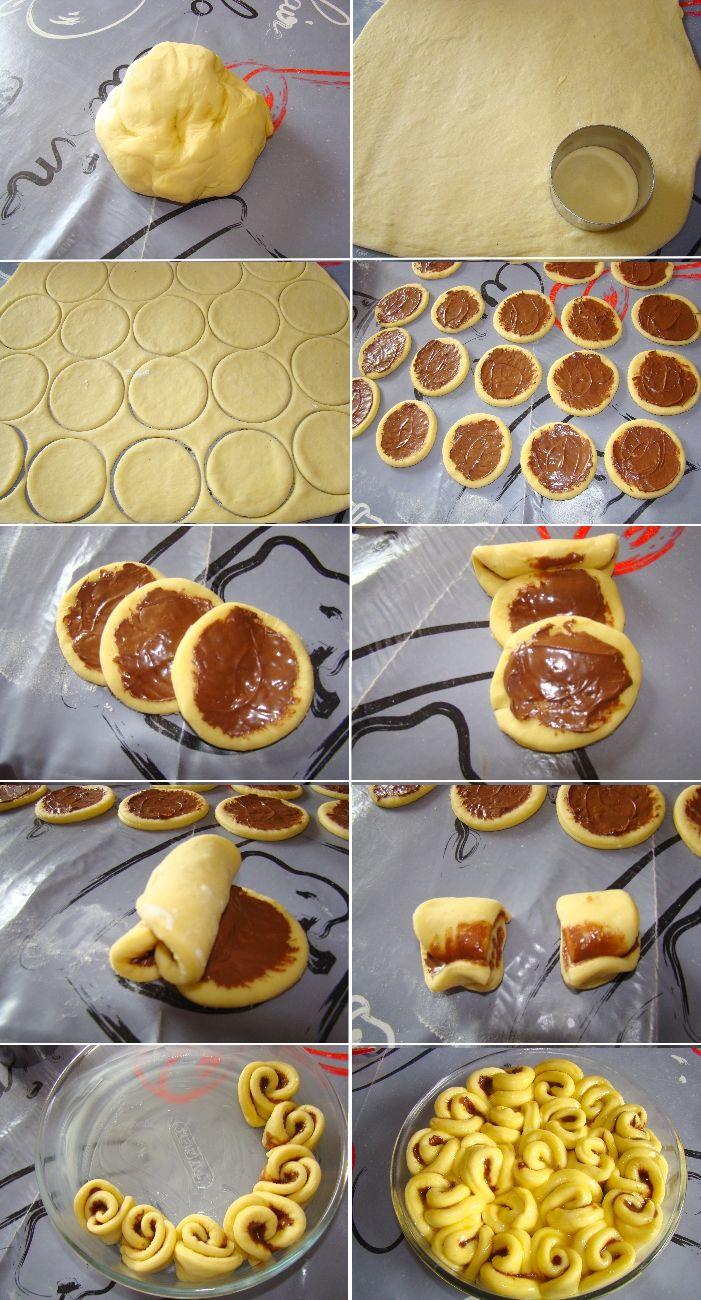 Etapes brioche bouclettes. Needs translation. Brioche Rolls with Chocolate.