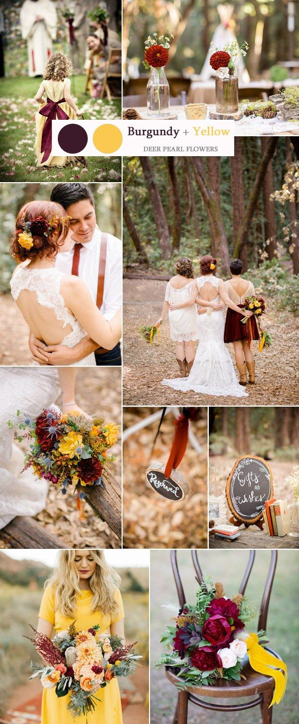 burgundy and yellow rustic wedding color ideas / http://www.deerpearlflowers.com/top-8-burgundy-wedding-color-palettes-youll-love/2/