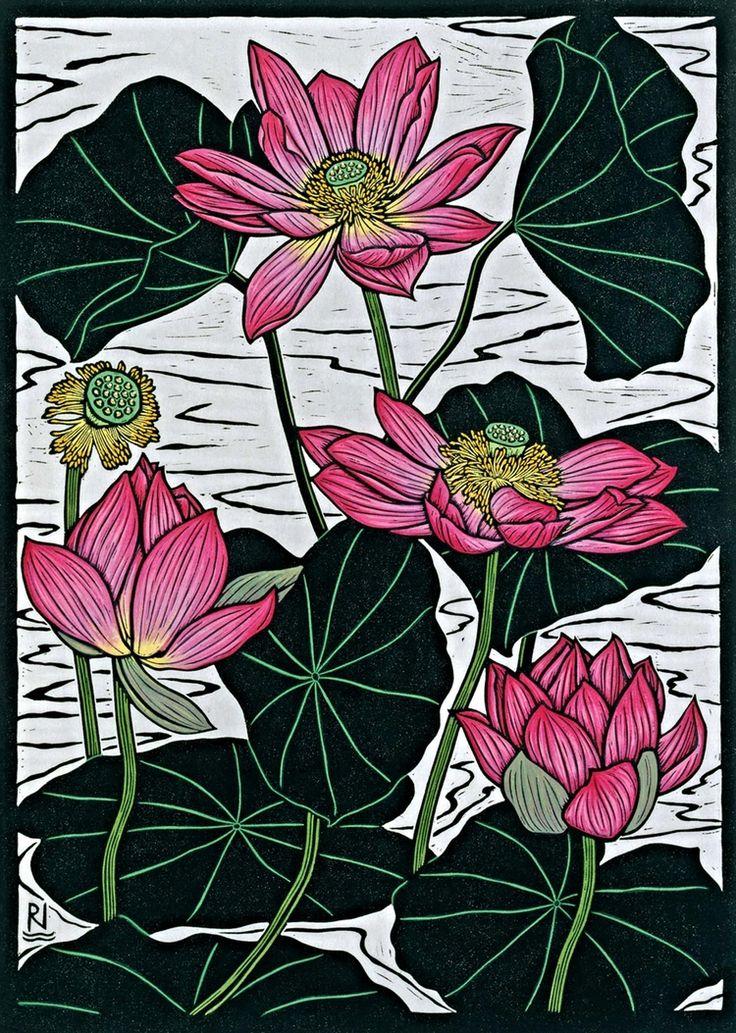 Sacred Lotus II, by Rachel Newling. Hand-coloured linocut on handmade Japanese paper, 49 x 35 cm