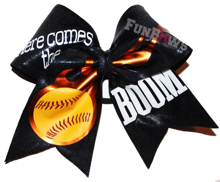Here Comes the BOOM ! Awesome Original Softball Baseball or other sport hairbow by FunBows by FunBows on Etsy https://www.etsy.com/listing/225347603/here-comes-the-boom-awesome-original