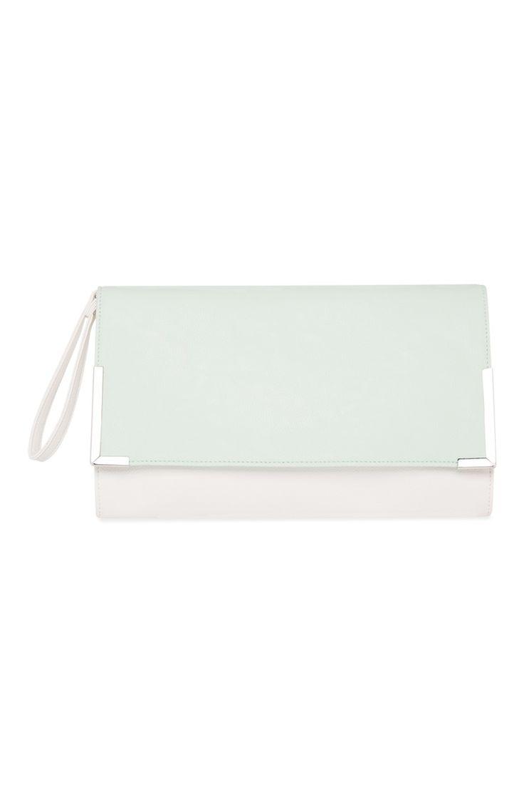Primark - Pochette blanche avec un rabat vert mente