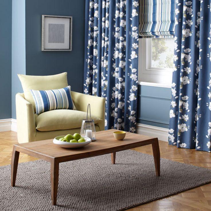 Curtain and Roman blind combination manufactured by BQ Design. Warwick Fabrics : GRANDIFLORA  DRAPERY HANGER