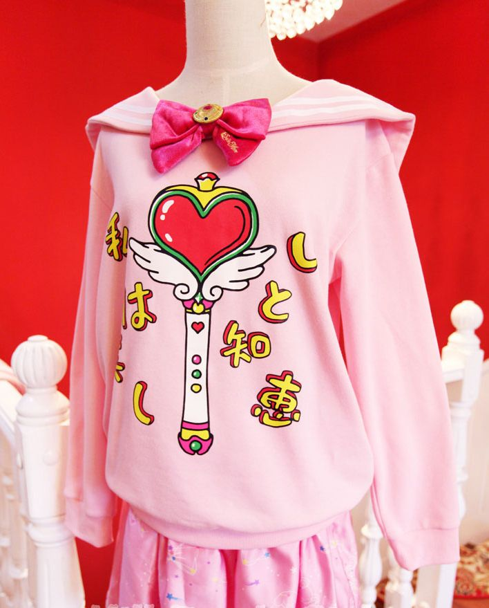 Sailor Moon Bow Sweater [Japanese, Harajuku, Fashion, Korean, Girls, Pink]