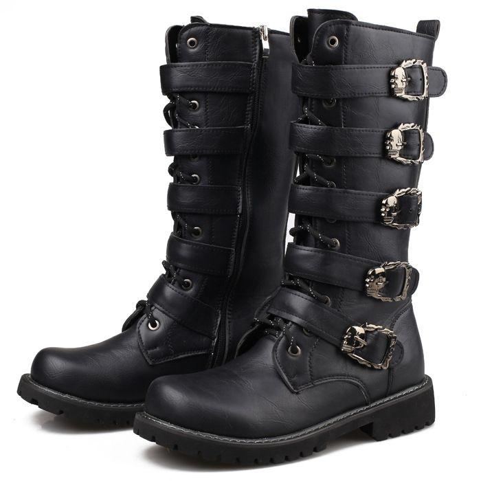 Men's Long Leather Boots 5 Buckles Strap Skull Leather //Price: $77.69 & FREE Shipping //     #skull #skullinspiration #skullobsession #skulls
