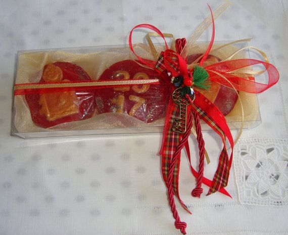 Happy 2017 Gift Set!!! Do you want wish someone the best of luck for the New Year? Here is new creative idea for your holiday guests : Opulent New Year Handmade Gift Set in Golden Cream Color, containing 3 small amber scent Luxury Holiday Soaps in golden red color - 2017 and Christmas shapes and a lovely handmade New Year Charm for Good Luck in the packaging.  Show your family, friends and relatives, your love by giving them this excellent and unusual gift for Good Luck in the New Year!!!!