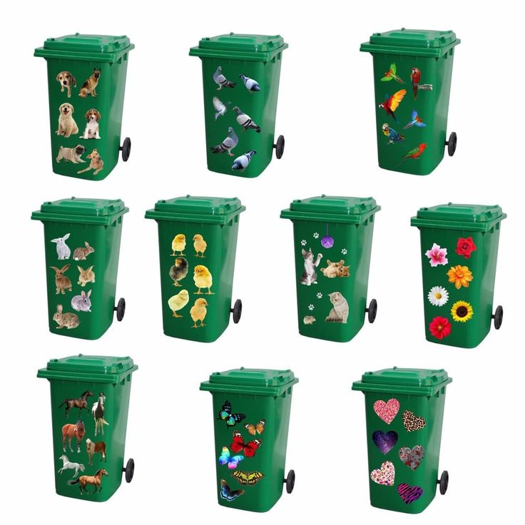 Full colour Wheelie bin stickers decorative vinyl wall decal stickers