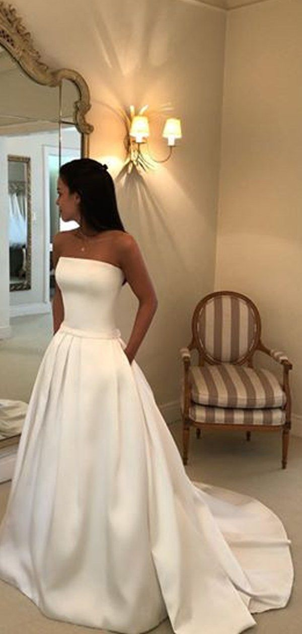 Simple Ivory Satin Strapless With Pockets Ball Gown Wedding Dresses,DB0180