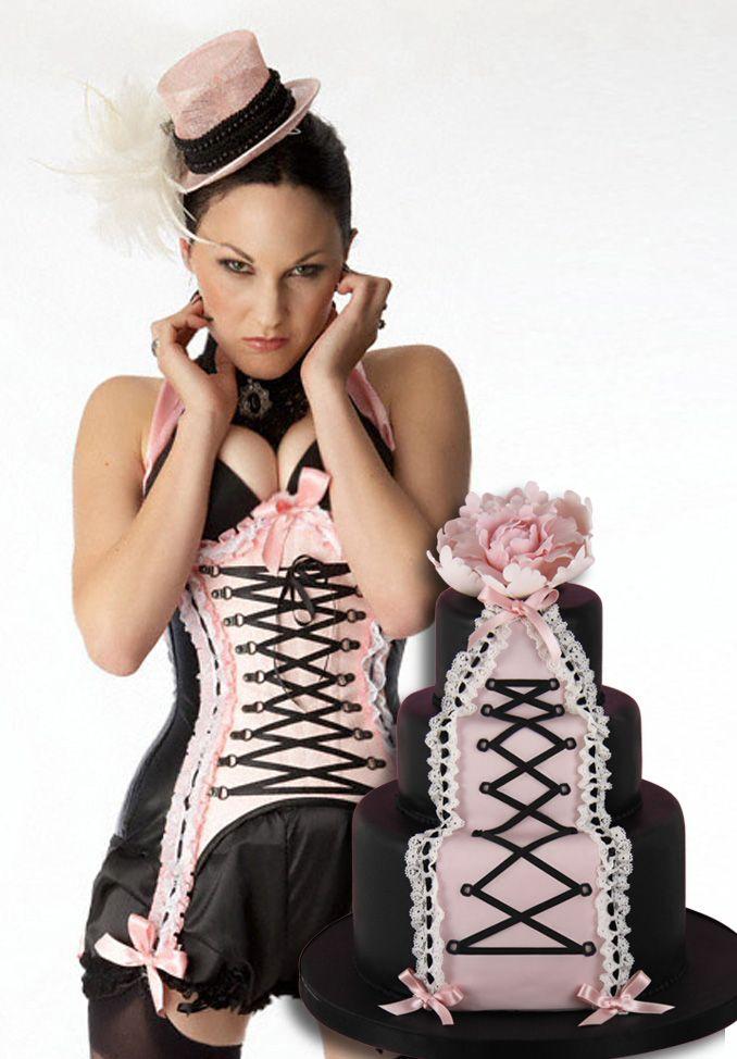 Maya Hansen corset cake by www.cakeshautecouture.com