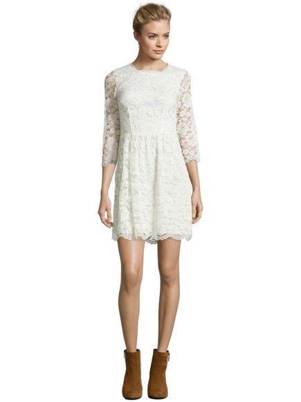 SET Kleid aus floraler Spitze mit Dreiviertelarm in Offwhite | FASHION ID Online Shop