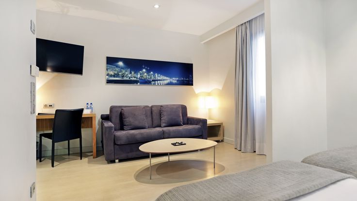 The Family rooms are composed by two beds and a double sofa bed (1.35m) and can accommodate a maximum of two adults and two children. They are more spacious and ideal to enjoy your stay in the center of Barcelona with your family. Only available on our website!