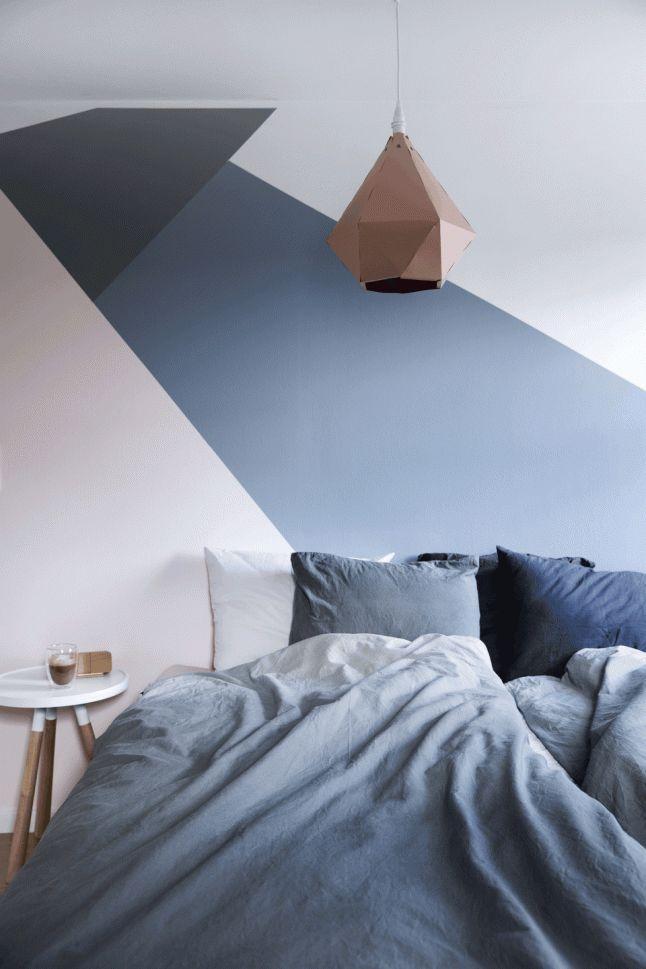 Idée : peindre des formes géometriques sur le mur http://www.m-habitat.fr/murs-facades/revetements-muraux/la-peinture-murale-949_A