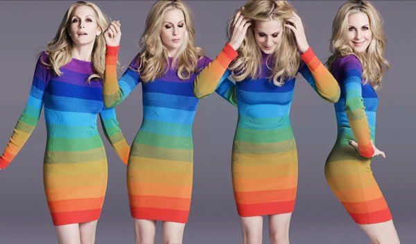 actress Kelly Rutherford in 80s Rifat Ozbek rainbow dress from Sielian's Vintage Apparel   Via Dusty Burrito