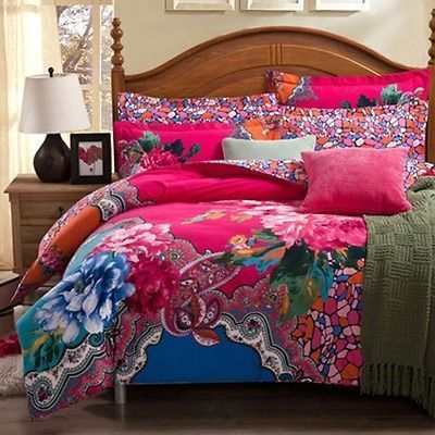 Bohemian Bedding Set Boho Style Moroccan Bed Duvet Cover 100% Brushed Cotton                                                                                                                                                     More
