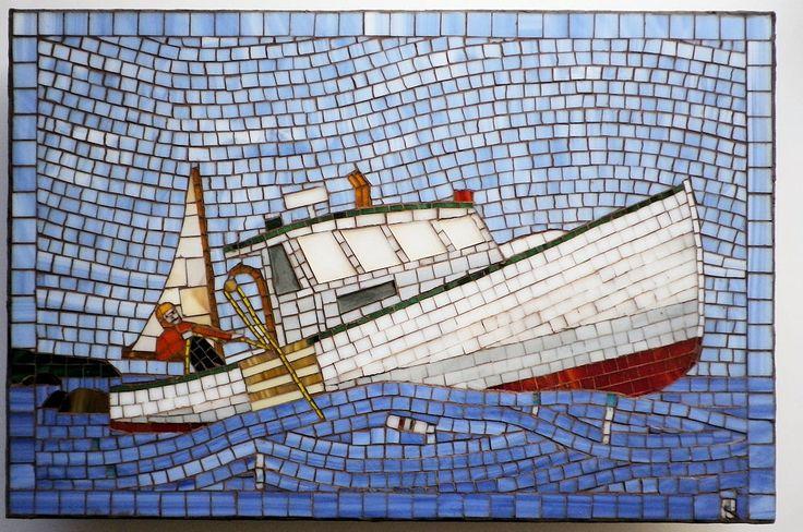 Lobster Fishing Boat Nova Scotia FICDD by LachanceGlassMosaic on Etsy