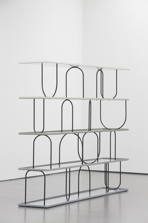 Nicole Wermers, Herald St Gallery, Wasserregal 2011 powder coated steel, fixings, water 220 x 295 x 52 cm / 86.6 x 116 x 20.5 in
