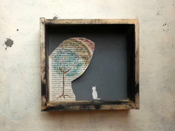 Cat under the tree  art in the rustic wooden box - fine art - original painting - home decor -