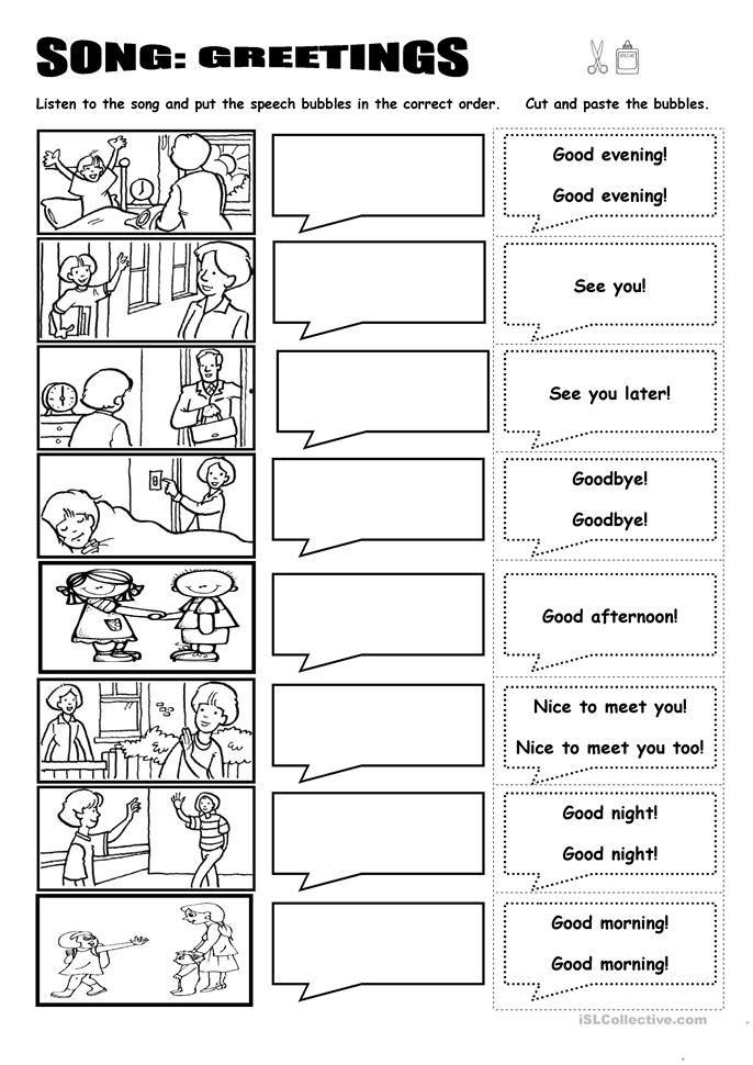 Song Greetings English Esl Worksheets In 2020 Worksheets Free Kindergarten Worksheets Printable Kids Worksheets Printables