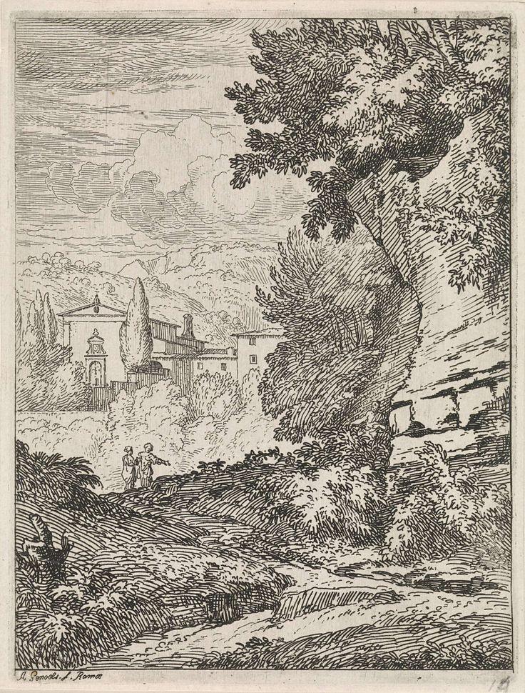 Abraham Genoels | Arcadisch landschap met rotswand, Abraham Genoels, 1650 - 1723 | Een bergachtig landschap. Op de voorgrond een rotswand. Op de achtergrond wandelen twee vrouwen richting een grote villa.